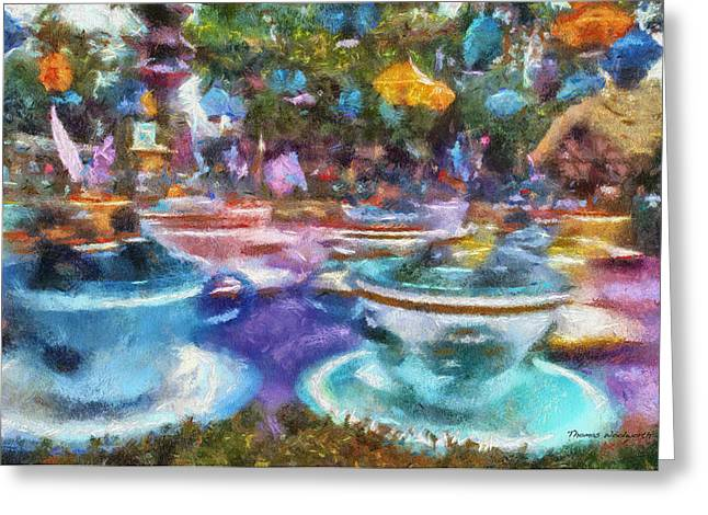 Mad Hatter Greeting Cards - Tea Cup Ride Fantasyland Disneyland PA 02 Greeting Card by Thomas Woolworth