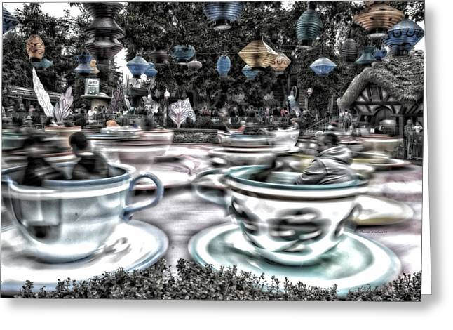 Mad Hatter Greeting Cards - Tea Cup Ride Fantasyland Disneyland SC Greeting Card by Thomas Woolworth