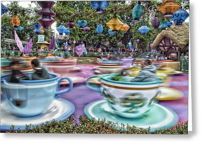 Mr Rogers Greeting Cards - Tea Cup Ride Fantasyland Disneyland Greeting Card by Thomas Woolworth