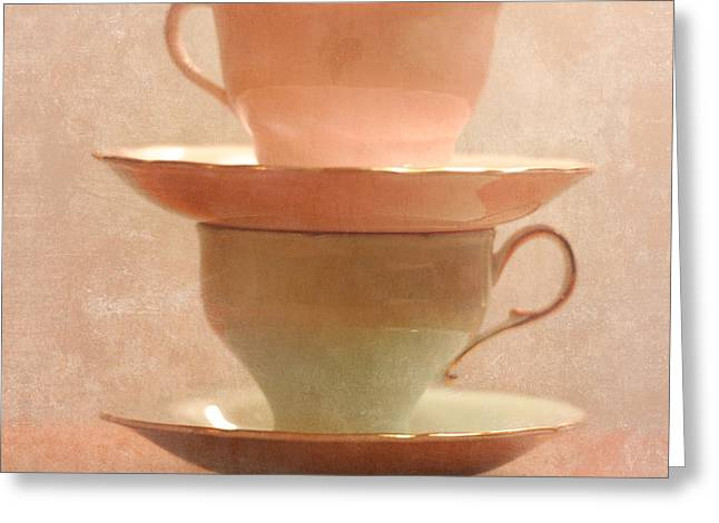 Tea For Two Greeting Cards - Tea Cups Series 1 Greeting Card by Renee Forth-Fukumoto