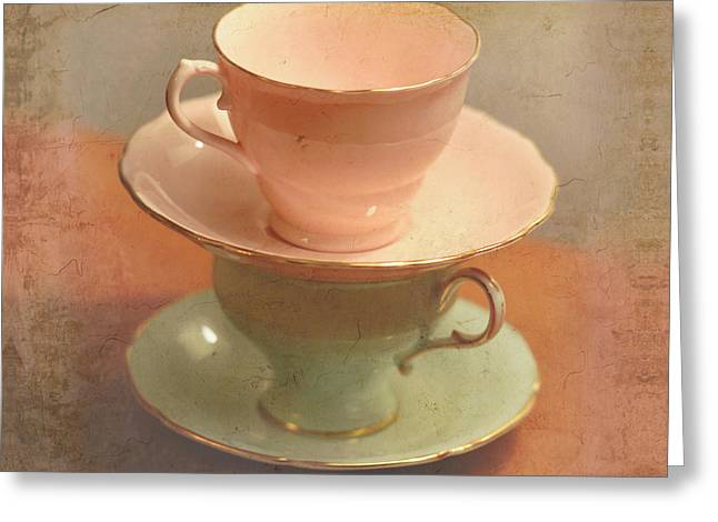 Tea For Two Greeting Cards - Tea Cups Series 3 Greeting Card by Renee Forth-Fukumoto