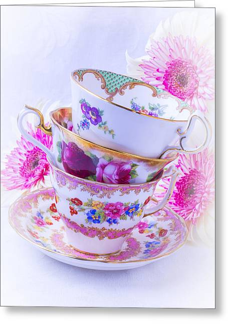 Time Stack Greeting Cards - Tea Cups With Pink Mums Greeting Card by Garry Gay