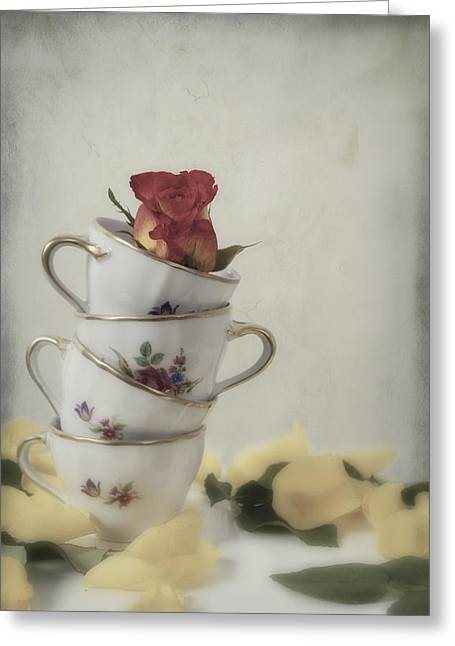 Cup Photographs Greeting Cards - Tea Cups With Rose Greeting Card by Joana Kruse