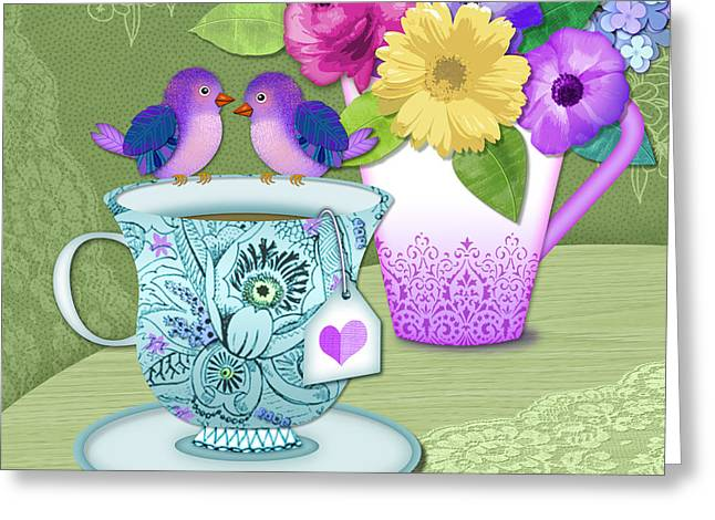 Flower Still Life Mixed Media Greeting Cards - Tea for 2 Greeting Card by Valerie   Drake Lesiak