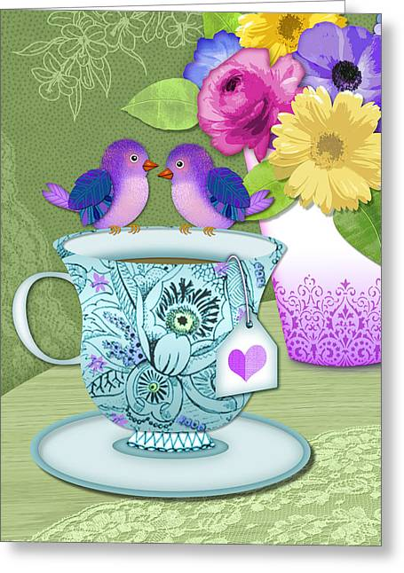 Cute Mixed Media Greeting Cards - Tea for 2 Greeting Card by Valerie   Drake Lesiak