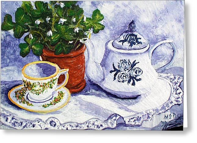 St Barbara Greeting Cards - Tea for Nancy Greeting Card by Barbara McDevitt