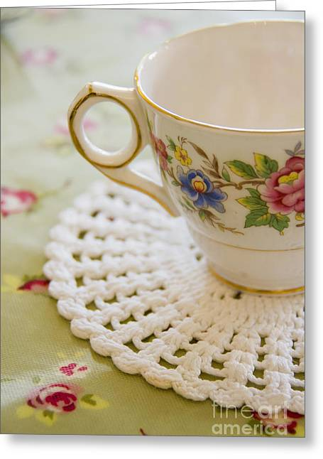 Table Cloth Greeting Cards - Tea for One Greeting Card by Margie Hurwich