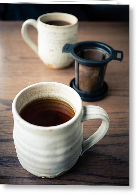 Strainer Greeting Cards - Tea for Two Greeting Card by Lauri Novak