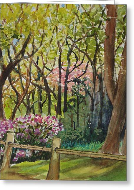 Bamboo Fence Paintings Greeting Cards - Tea Garden Greeting Card by Karen Coggeshall
