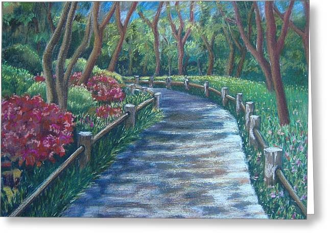 Destiny Pastels Greeting Cards - Tea Garden Path Greeting Card by Karen Coggeshall
