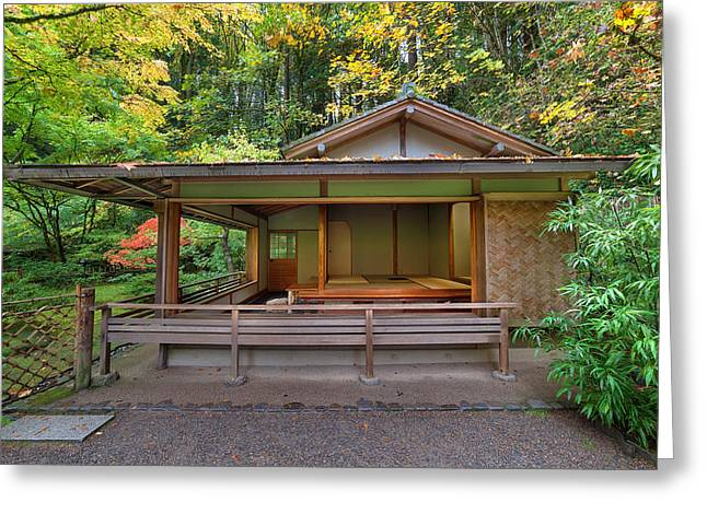 Bamboo Fence Greeting Cards - Tea House at Japanese Garden Greeting Card by JPLDesigns