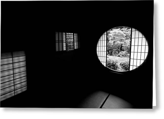 Tea House Interior Of Zen Temple Greeting Card by Daniel Hagerman