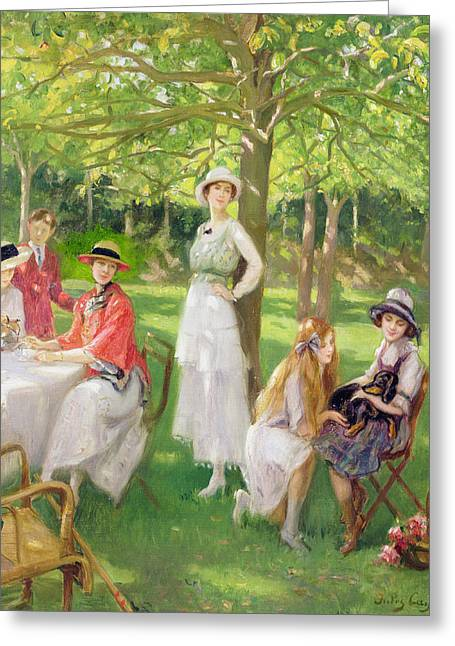 Woman Of The Forest Greeting Cards - Tea in the Garden Greeting Card by Jules Cayron