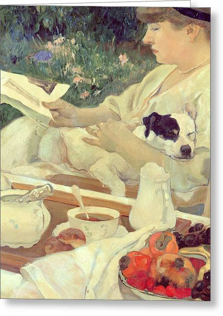Mans Best Friend Greeting Cards - Tea in the Garden Greeting Card by Leon Georges Carre
