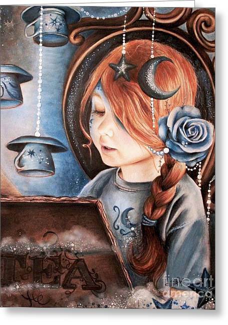 Coloured Pencil Greeting Cards - Tea in the Moonlight Greeting Card by Sheena Pike