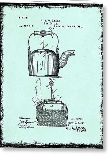 Tea Kettle Greeting Cards - Tea Kettle Patent 1880 Greeting Card by Mark Rogan