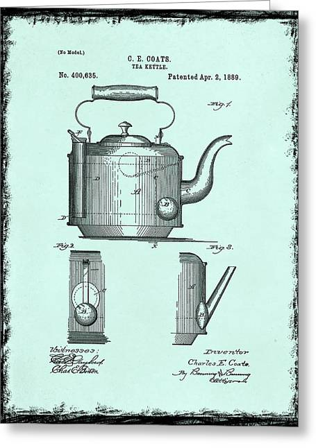Tea Kettle Greeting Cards - Tea Kettle Patent 1889 Greeting Card by Mark Rogan