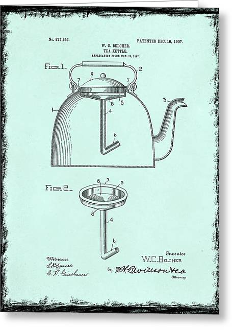 Tea Kettle Greeting Cards - Tea Kettle Patent 1907 Greeting Card by Mark Rogan