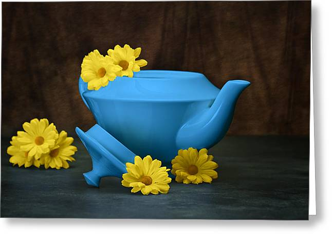 Cheery Greeting Cards - Tea Kettle with Daisies Still Life Greeting Card by Tom Mc Nemar