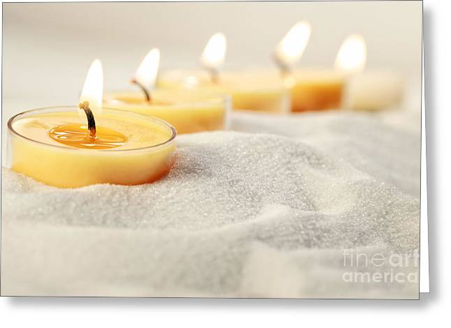 Wax Greeting Cards - Tea light candles in sand Greeting Card by Sandra Cunningham