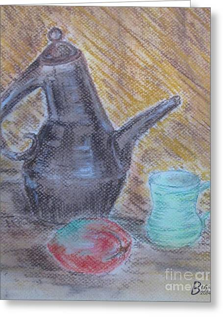Tea Party Pastels Greeting Cards - Tea Party Greeting Card by Blg H