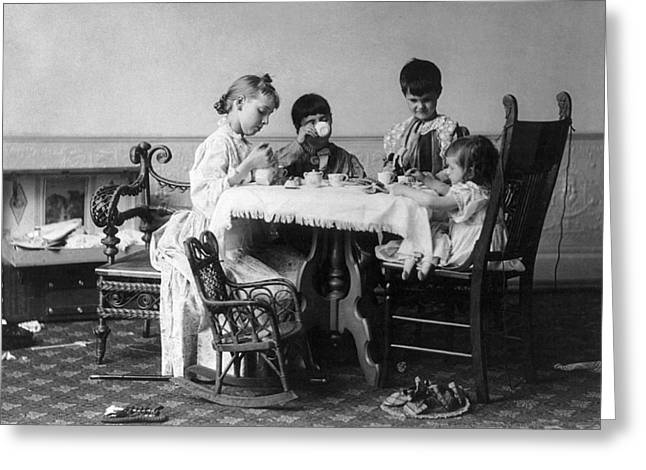Tea Party Greeting Cards - TEA PARTY, c1893 Greeting Card by Granger