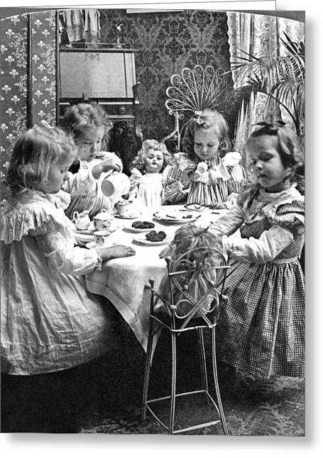 Tea Party Greeting Cards - TEA PARTY, c1902 Greeting Card by Granger