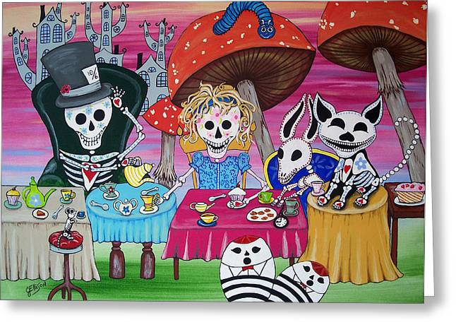 Mad Hatter Greeting Cards - Tea Party Day of the Dead Alice in Wonderland Greeting Card by Julie Ellison