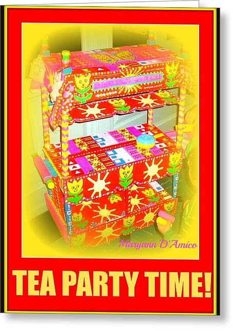 Custom Sculptures Greeting Cards - Tea Party Time Greeting Card by Maryann  DAmico