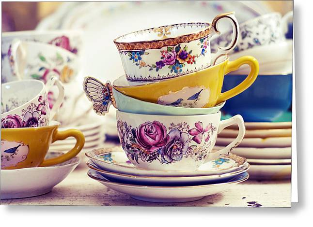 Tea Party - Vintage Tea Cups Photograph Greeting Card by Elle Moss