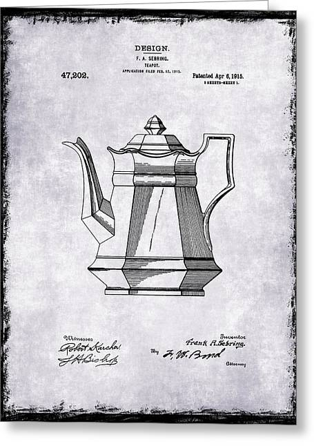 Grinder Greeting Cards - Tea Pot Patent 1915 Greeting Card by Mark Rogan