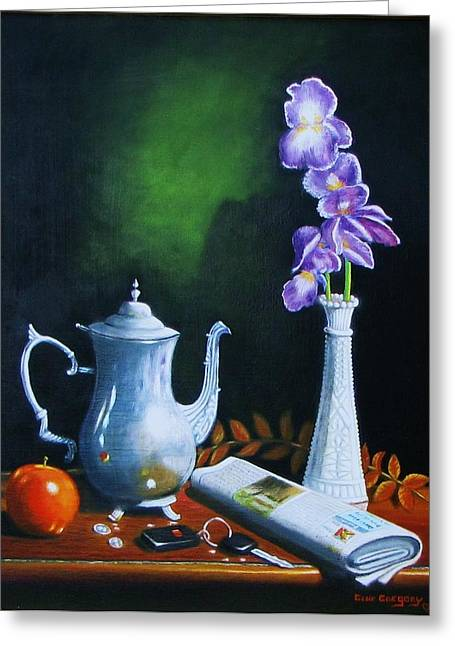Tea Pot With Iris Greeting Card by Gene Gregory