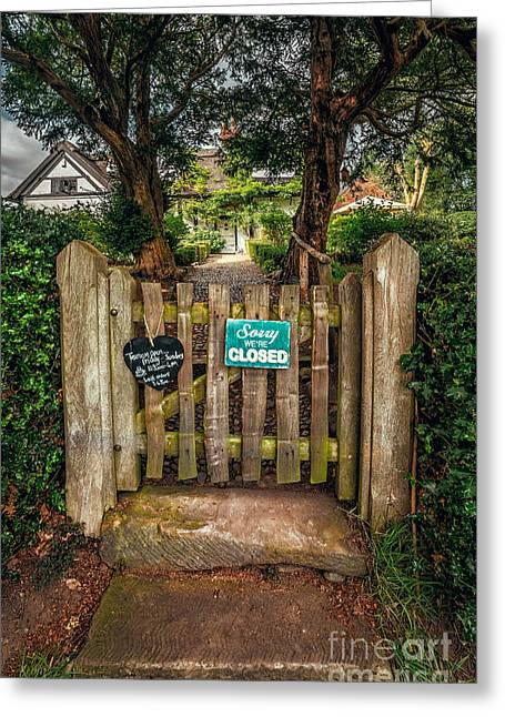 Plaster Greeting Cards - Tea Room Gate Greeting Card by Adrian Evans