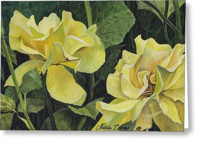 Green Foliage Paintings Greeting Cards - Tea Rose Greeting Card by Natasha Denger