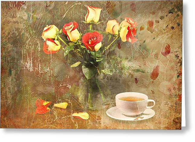 Glass Vase Greeting Cards - Tea Roses Greeting Card by Diana Angstadt