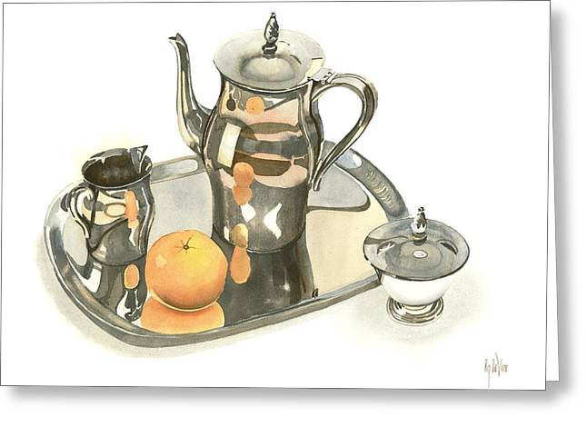 Still Life With Pitcher Greeting Cards - Tea Service with Orange Dramatic Greeting Card by Kip DeVore