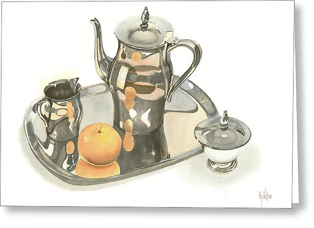 Silver Pitcher Greeting Cards - Tea Service with Orange Greeting Card by Kip DeVore
