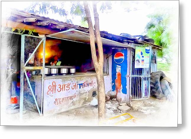 Pastimes Greeting Cards - Tea Shop Cafe for Travelers India Rajasthan Greeting Card by Sue Jacobi