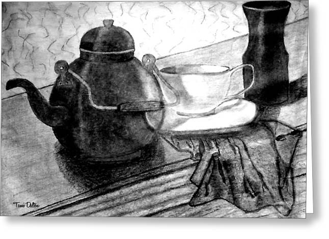 Table Cloth Drawings Greeting Cards - Tea  Greeting Card by Tami Dalton