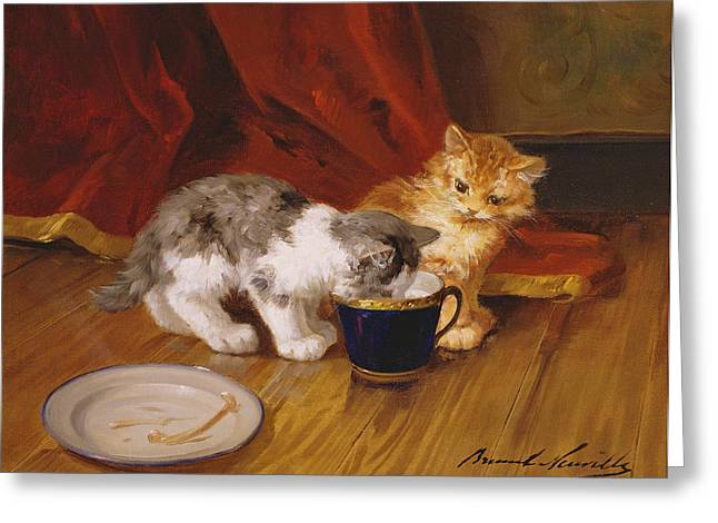 Kittens Greeting Cards - Tea-time Greeting Card by Alphonse Marie de Neuville