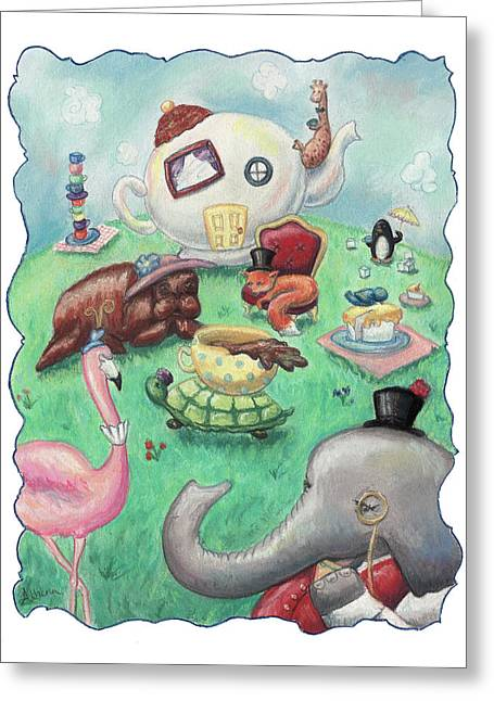 Kids Books Pastels Greeting Cards - Tea Time Greeting Card by Athena Lutton