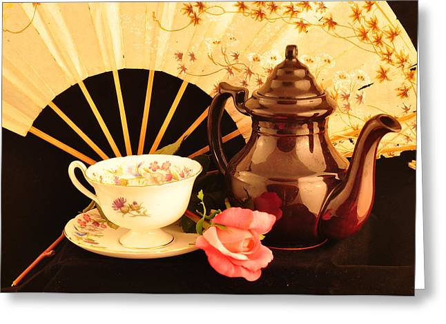 Angela Castillo Greeting Cards - Tea Time Greeting Card by Cherie Haines