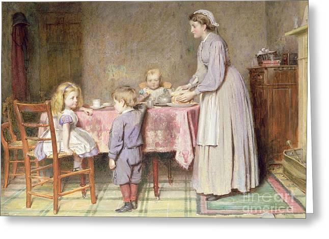 Tea Time Greeting Card by George Goodwin Kilburne