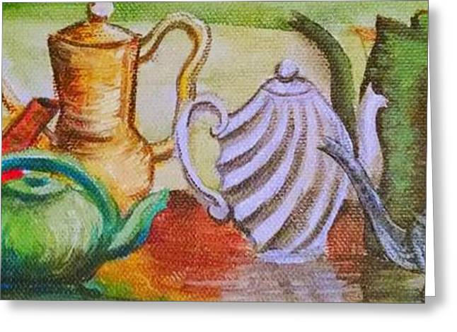 Pewter Jug Greeting Cards - Tea Time Greeting Card by Gretchen  Smith