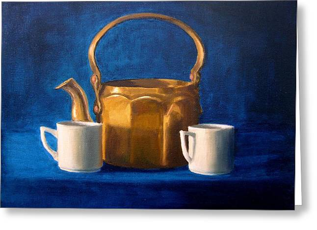 Tea For Two Greeting Cards - Tea Time Greeting Card by Janet King