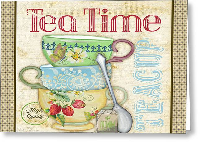 Strawberry Art Greeting Cards - Tea Time-JP2572 Greeting Card by Jean Plout