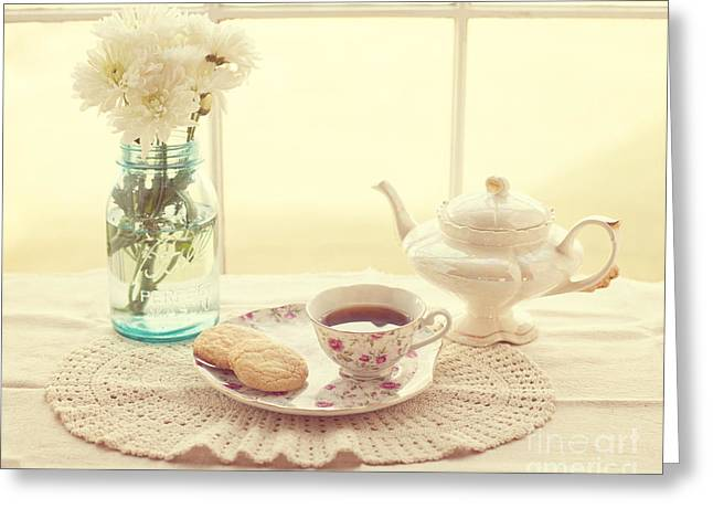 Doily Greeting Cards - Tea Time Greeting Card by Kay Pickens