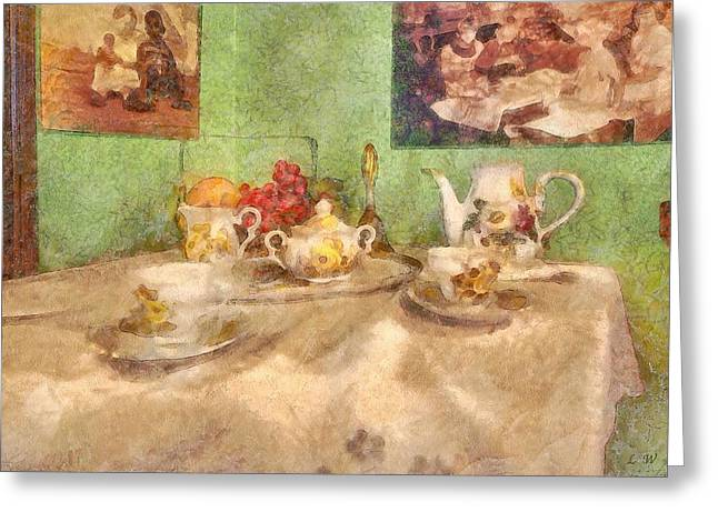 Tea For Two Greeting Cards - Tea Time  Greeting Card by L Wright