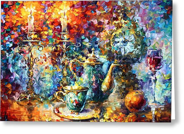 Table Wine Greeting Cards - Tea Time Greeting Card by Leonid Afremov