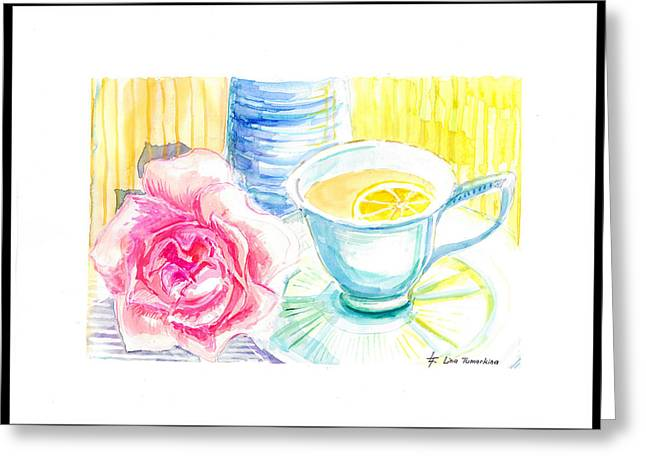 Graphics Framed Prints Greeting Cards - Tea Time Greeting Card by Lina Tumarkina